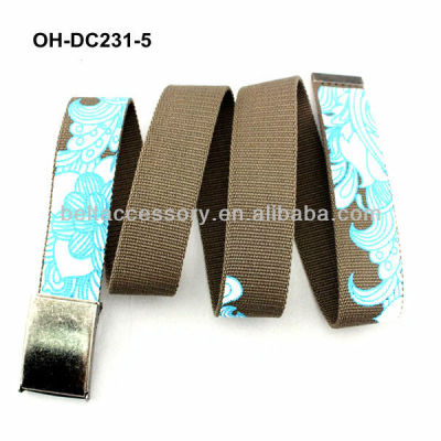 Fashion brown printed womens canvas belt