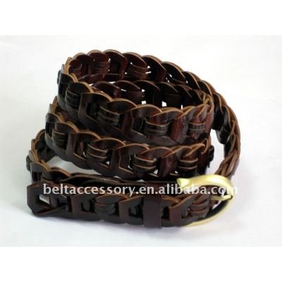 Shiny Surface Braided Leather Belts