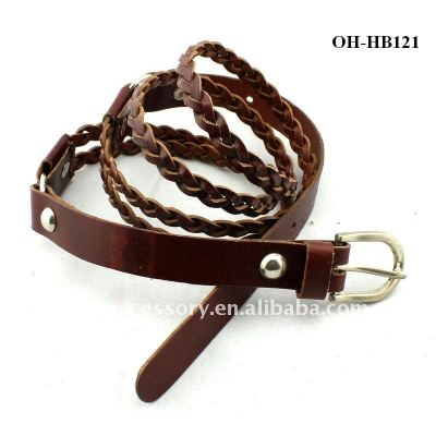 Fahion Imported Bonded Leather double belts One buckle