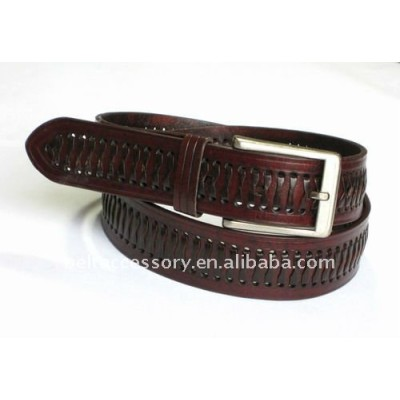 Square Bonded Leather Braided Buckle belt