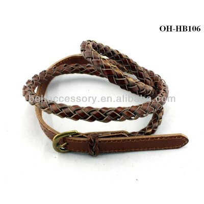 Braided Narrow Belts with Shiny Marron Color