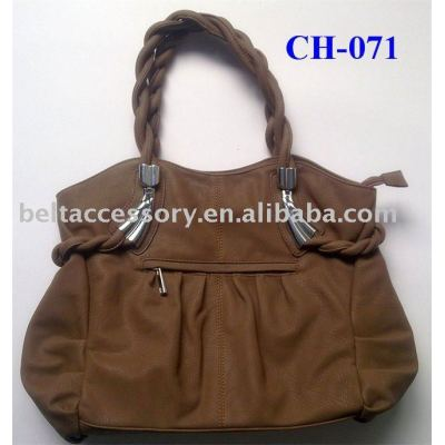 Braided Handle PU Tote Bag