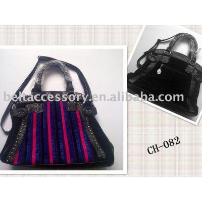Studded Colorful Stripes PU Women's Handbag