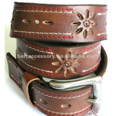Women leather belt with embossed flowers