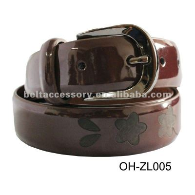 Beautiful patent lady leather belt with flowers