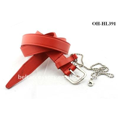 RED Edge Embossed Leather Belt With chain hook