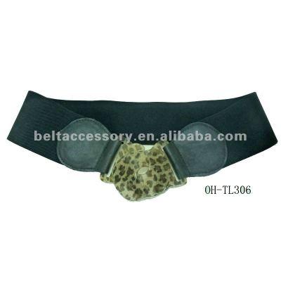 Women fashion elastic belt with leopard