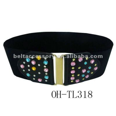 Ladies elastic belt with rhinestone
