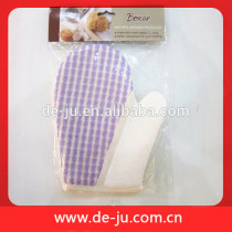 China Purple Strip Weave Terry Cloth Bath Shower Gloves Massager
