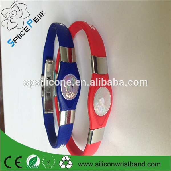 Silicone stainless steel hardware color bracelets, titanium metal germanium more energy