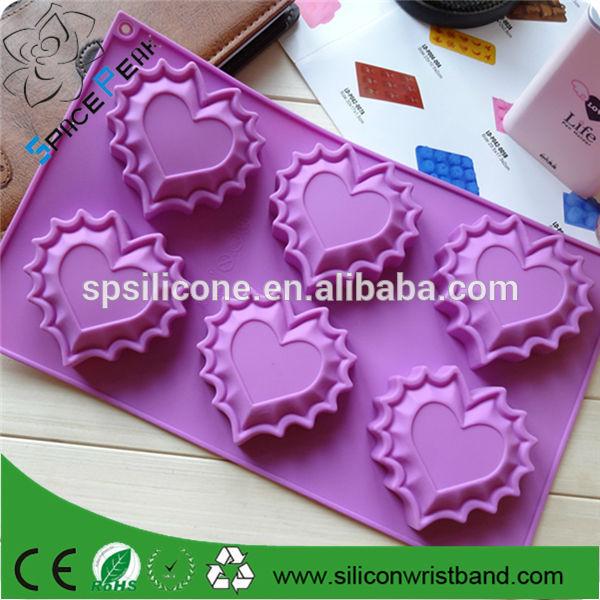 Lace Love Shape 6 Even Silicone Cake Mold,Pudding Mold, Handmade Soap Mold