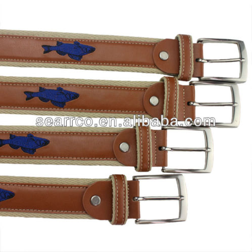 heavy webbing stitching genuine leather belt fish logo