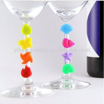 ISO9001 factory Hot sale rubber flower suction cup wine glass marker