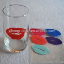 TOP1 factory New style silicone wine glass markers with suction cup