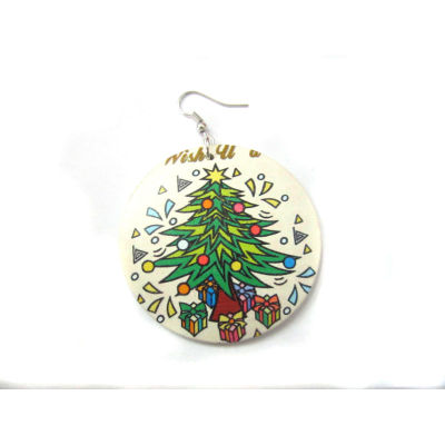 Merry Christmas Earring / Christmas Tree Earring / Christmas Wooden Earring
