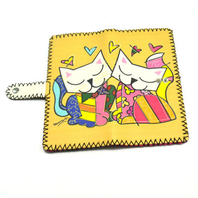 Cartoon Leather Wallet Painted Leather Wallet Cat Leather Wallet