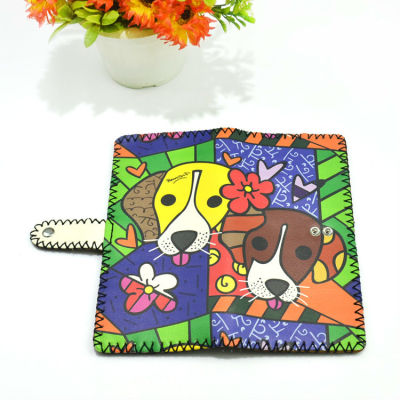 Valentine Gift Wallet - Painted Animal Leather Wallet Couple Dog Wallet
