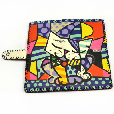 Girls Kitty Wallet - Hand Painted Leather Wallet