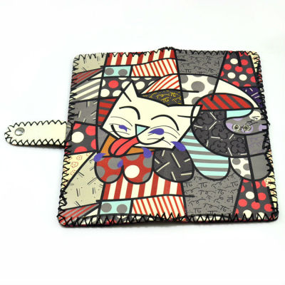 Cute Kitty Wallet - Hand Painted Leather Wallet Women Wallet Ladies Wallet