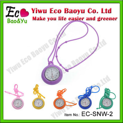 Colorful Silicone Necklace Watch with Quartz Movement