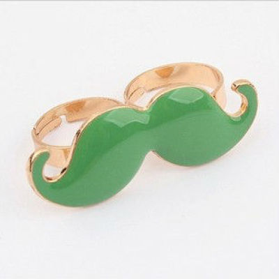 Mustache Bicyclic Ring Mustache TWO Finger Ring Mustache Jewelry