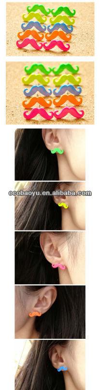 Wholesale Neon Mustache Earring In Bulk