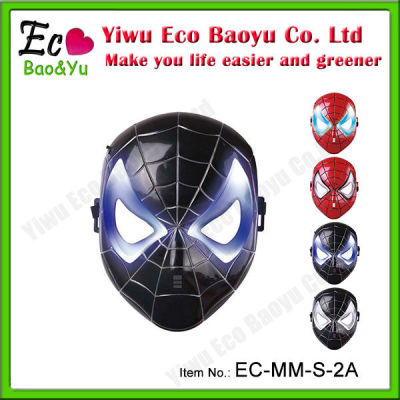 New Arrival Black Spider Man Mask With LED for 2013 Halloween Mask