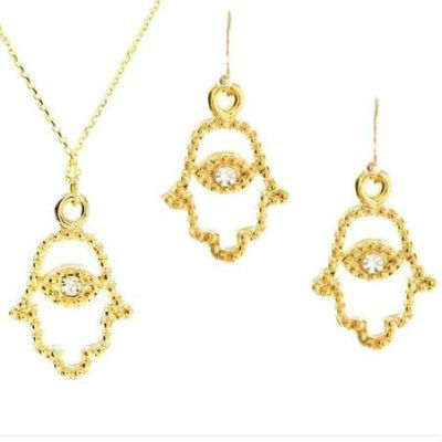 Vintage Gold HAMSA Evil Eye Jewelry Set