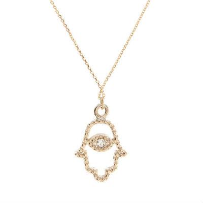 Vintage Gold HAMSA Hand Pendant Necklace Evil Eye Lucky