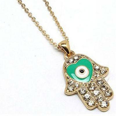 Heart Hamsa Kabbalah Necklace LUCKY EVIL EYE Hamsa Pendant Necklace