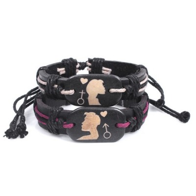 2014 Valentines Gift Leather Bracelet Jewelry - Girl and Boy