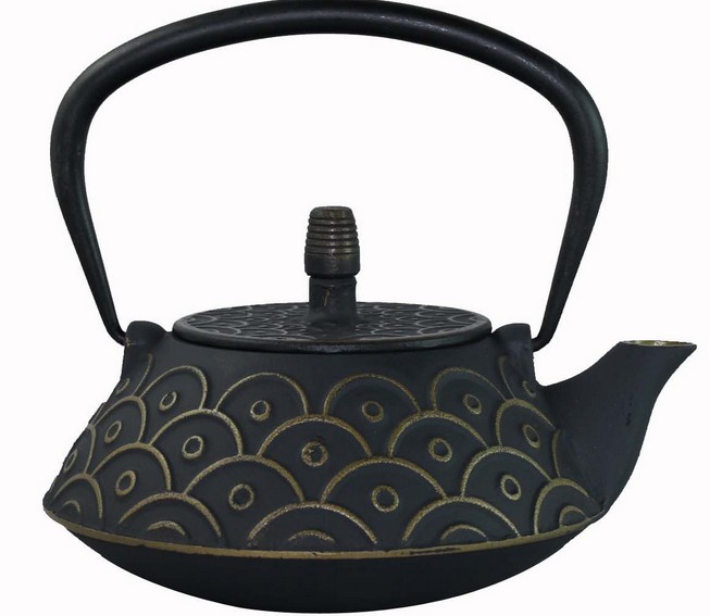 Black Cast Iron Teapot with filter 900ml,fish design