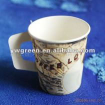 8 oz disposable paper coffee cup with handle
