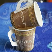 Disposable handle coffee paper cup