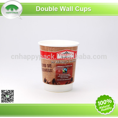 Disposable double wall paper cup for hot drinks
