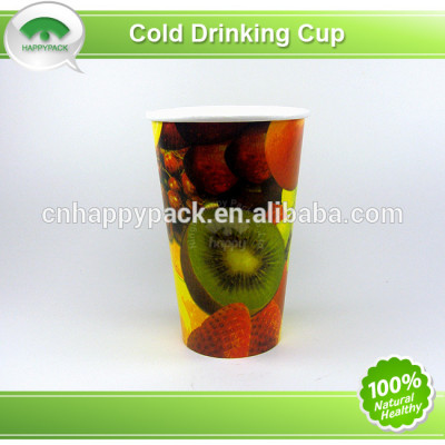 Disposable paper cup for cold drink