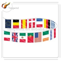 (TW30903) 32 Countries Flags Printed Flag Series With Rope Sewed