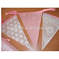 (TW30907) Eco-friendly Lace Bunting Flag With Rope Sewed