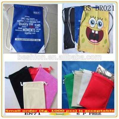 Promotional polyester drawstring bag, back pack drawstring bags