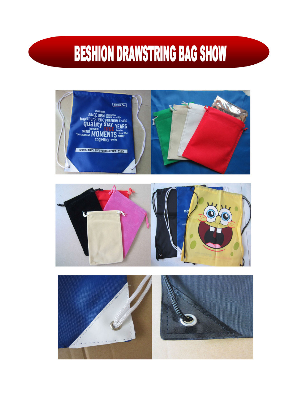 Promotional Nylon Drawstring Bag/Drawstring Backpack with reinforced PU corners