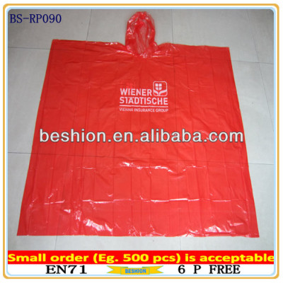 Promotional Waterproof Disposable cheap rain poncho,plastic poncho,plastic rain poncho