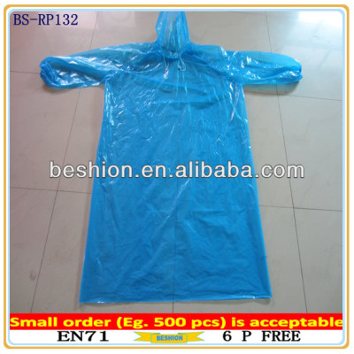 PE Disposable raincoat, disposable poncho raincoat in cheap material for Adult and Children