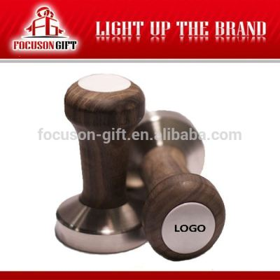 Promotion custom logo Rosewood handle Stainless Steel Base coffee accessories