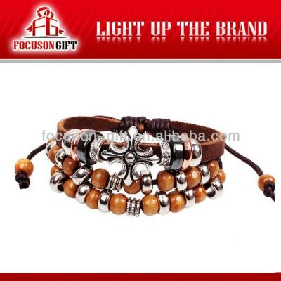 Custom logo Handmade ball charms leather bracelet