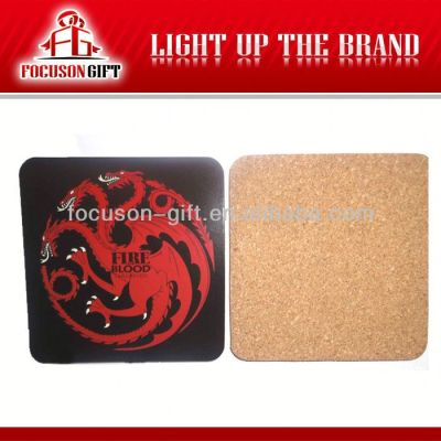 Advertising Logo Printed Square cork backed coasters