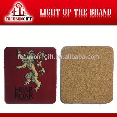 Advertising Logo Printed Square blank cork coaster