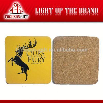 Advertising Logo Printed Square cork board coaster