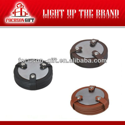 Promotional item round Custom leather coaster with metal insert
