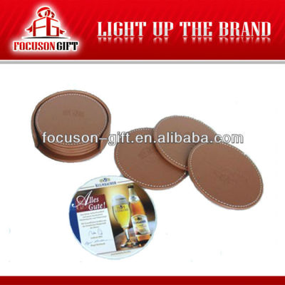 Promotional item round Custom PU Leather coasters