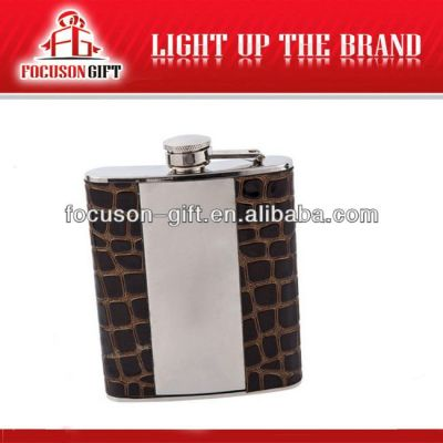 Portable Top Grade Small Capacity hip flasks with leather case